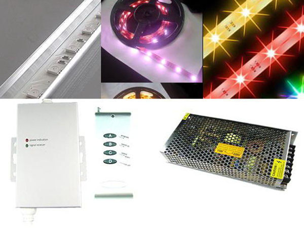 Complete set for 5 meter RGB leds lights (standalone control)